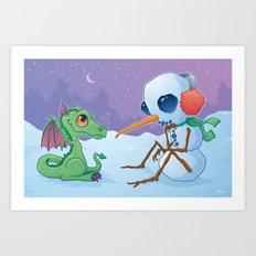 Snowman and Dragon Art Print