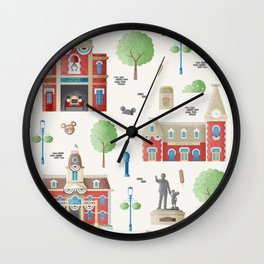Main Street USA Disneyland Pattern Wall Clock