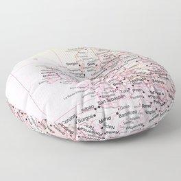 Rose Word Map Europe Floor Pillow