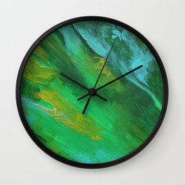 Square Green Abstract Acrylic Painting Wall Clock