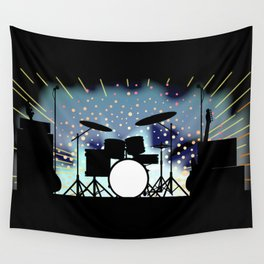 Bright Rock Band Stage Wall Tapestry