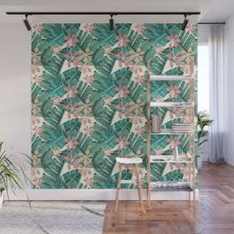 Tropical leaves and flowers on white Wall Mural