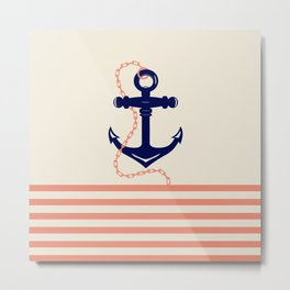 AFE Navy Anchor and Chain Metal Print