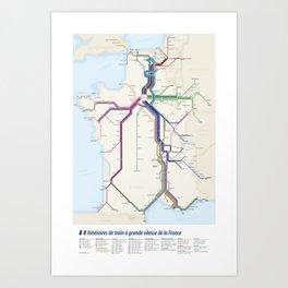Itinéraires de train à grande vitesse de la France Art Print