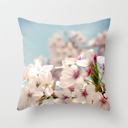 Spring, Flower Photography, Pastel, Pink, Romantic Cherry Blossom, Art Deco - 8 x 10 Wall Decor Throw Pillow