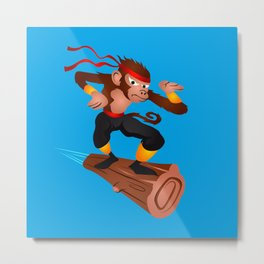 Monkey Ninja flying Metal Print
