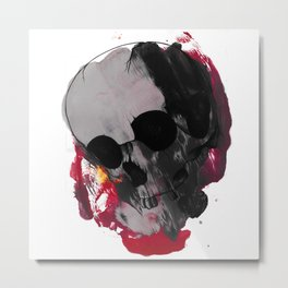 Off with my head (Skull art on Rorschach type colorful mess) Metal Print