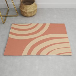 🤍, Abstract Art, Terracotta, Colorful Stripes, Geometric Art Rug