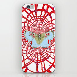 ARTISTIC RED-WHITE BUTTERFLY DREAM CATCHER WEB iPhone Skin