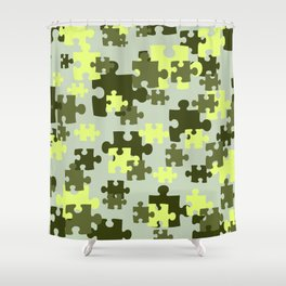 Puzzle Gree green pattern Shower Curtain