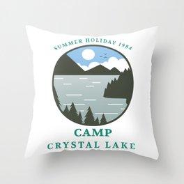 Camp Crystal Lake Retro 80s Slasher Horror Halloween Design Throw Pillow