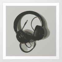 headphones Art Prints featuring Headphones by GoAti