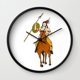 Native American Indian Brave Riding Pony Cartoon Wall Clock