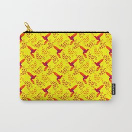 Pretty beautiful cute red hummingbirds, delicate twigs with little leaves yellow pattern. Gift ideas Carry-All Pouch