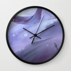 Drop in a purple ocean Wall Clock