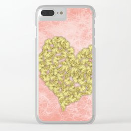 Gold butterflies heart and peach texture Clear iPhone Case