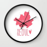 seoul Wall Clocks featuring Seoul (Map) by Victoria Breton