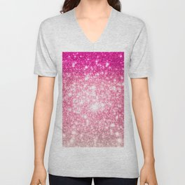 Perfect Pink Ombre Galaxy Sparkle Unisex V-Neck