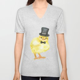 Top Hat Chick Watercolor Unisex V-Neck