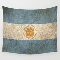 argentina Wall Tapestries featuring Old and Worn Distressed Vintage Flag of Argentina by Jeff Bartels