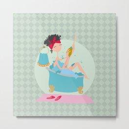 Girl in bath Metal Print