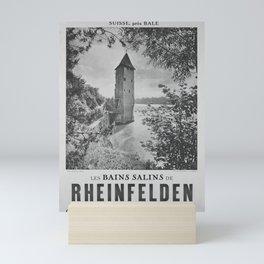 retro monochrome Les Bains salins de Rheinfelden vintage poster Mini Art Print