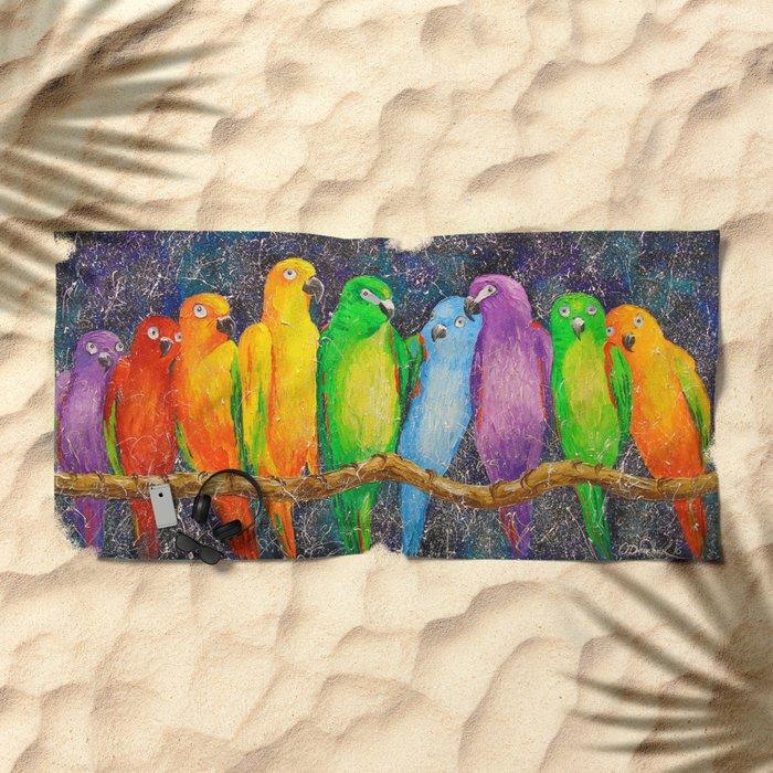 Parrots friends Beach Towel