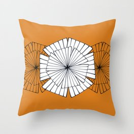Abstract ornament on orange Throw Pillow