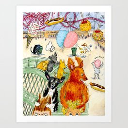 The Dogs Take Over Coney Island Art Print