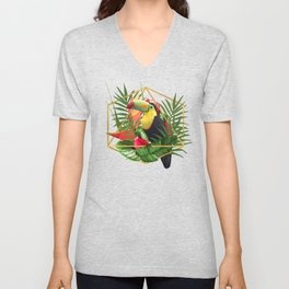 Bold Golden Geometric Tropical Bouquet With Toucan Unisex V-Neck