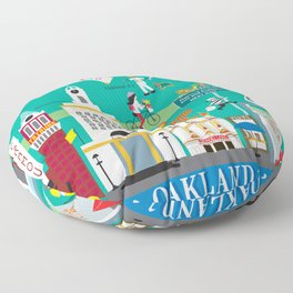 Oakland, California - Collage Illustration by Loose Petals Floor Pillow