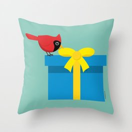 Cute Red Cardinal Opening Blue Gift Throw Pillow