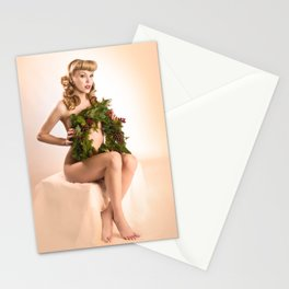 """Better Than an Ugly Sweater"" - The Playful Pinup - Christmas Wreath Pin-up by Maxwell H. Johnson Stationery Cards"