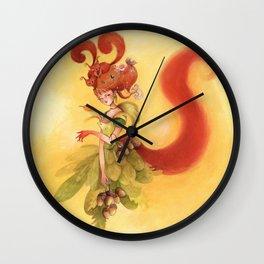 Fée Ecureuils Wall Clock