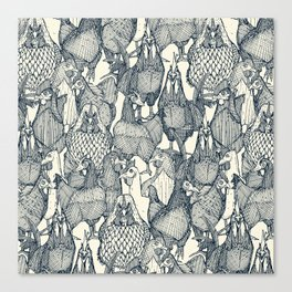 just chickens indigo pearl Canvas Print