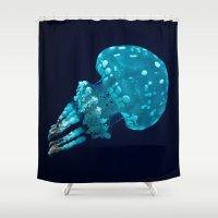 jellyfish Shower Curtains featuring jellyfish by Sara Eshak