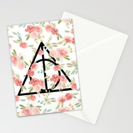 Floral Deathly Hallows Stationery Cards