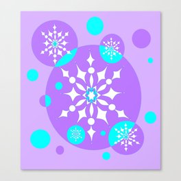 A Lavender and Aqua Snowflake Design Canvas Print