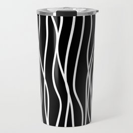 White lines on black background Travel Mug