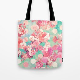 Romantic Pink Retro Floral Pattern Teal Polka Dots Tote Bag