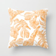 Island Vacation Hibiscus Palm Leaf Coral Orange Throw Pillow