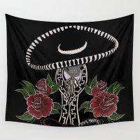 dia de los muertos Wall Tapestries featuring Dia De Los Muertos by Erin Rose