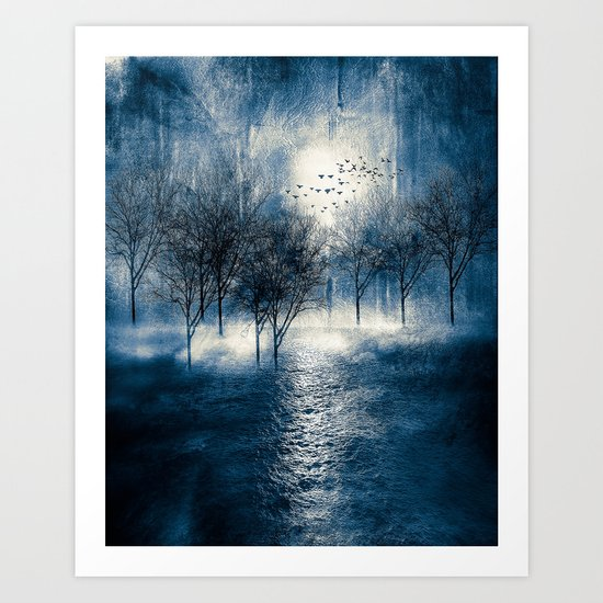 Paisaje y color (azul) Art Print