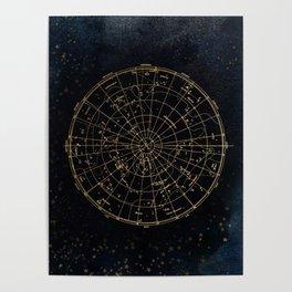 Golden Star Map Poster