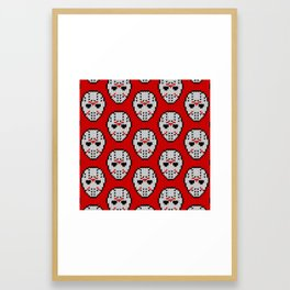 Knitted Jason hockey mask pattern Framed Art Print