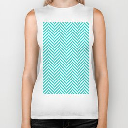 Teal white abstract geometrical chevron Biker Tank