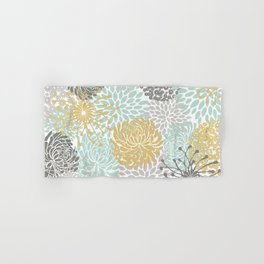 Floral Abstract Print, Yellow, Gray, Aqua Hand & Bath Towel