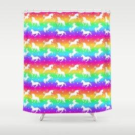 Rainbow Unicorn Happy-Fun-Time Shower Curtain