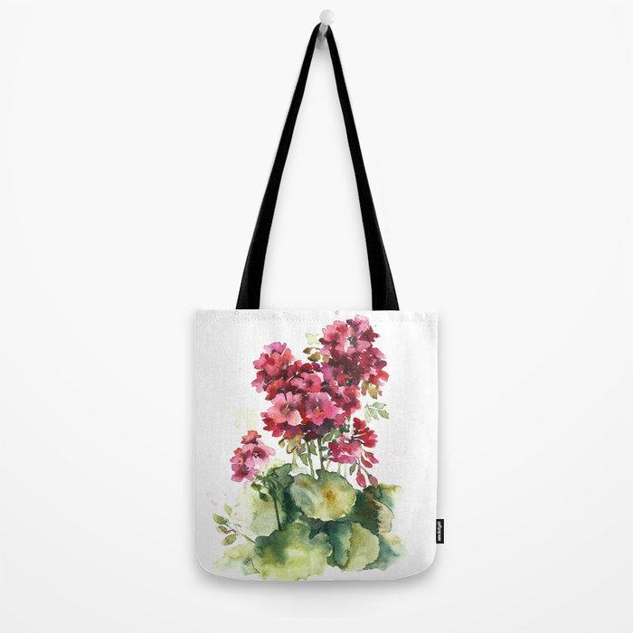 Watercolor geranium flowers Tote Bag