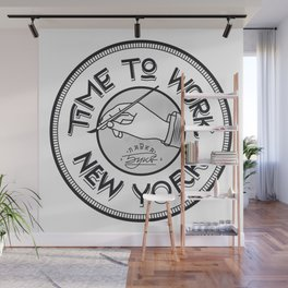 Time to work NY. Engrave style. Wall Mural